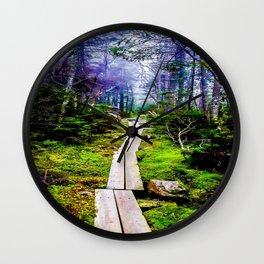 Misty Mountain Path Wall Clock