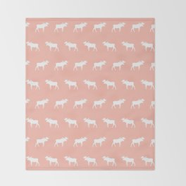 Moose pattern minimal nursery basic peach and white camping cabin chalet decor Throw Blanket