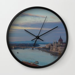 Danube River Budapest Sunset Wall Clock