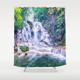 Digital Painting - Kuang Si Falls Shower Curtain