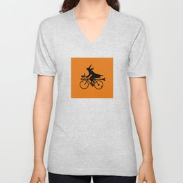 Witch on a Bicycle Unisex V-Neck