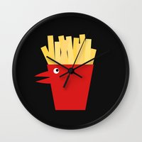 french fries Wall Clocks featuring Chicken Tenders and French Fries by Dang-Nam