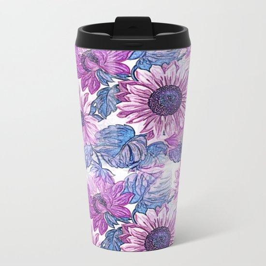 Dusty Pink Flowers Metal Travel Mug