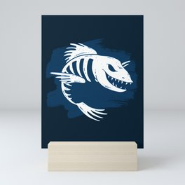 Fish Skeleton Art Ocean Sea Life Marine Design In Blue Mini Art Print