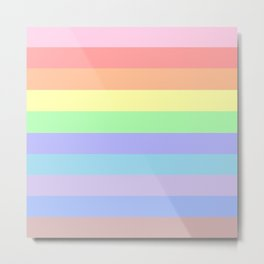 Pastel Rainbow Stripes Metal Print