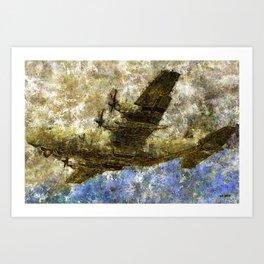 Grunge Dynamics 050 C130 Hercules Art Print
