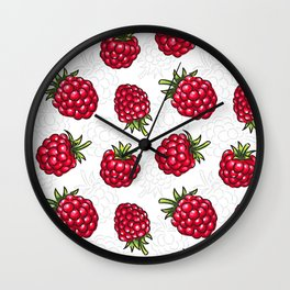 Raspberries seamless pattern Wall Clock