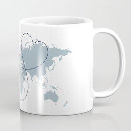 Long Distance World Map - UK to New York Coffee Mug