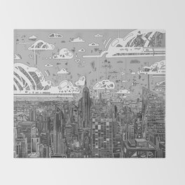 new york city skyline black and white Throw Blanket
