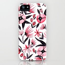 Black and Peach Flowers - Watercolor Pattern iPhone Case
