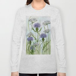 Thistle White Lace Watercolor Long Sleeve T-shirt