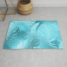 Aqua Iridescent Exotic Fantasy Leaf Pattern Rug