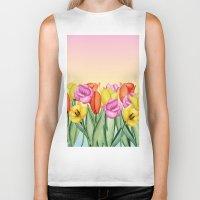 tulips Biker Tanks featuring Tulips by Julia Badeeva