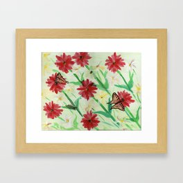 Daisies Butterflies Katydid Red Green and White Framed Art Print