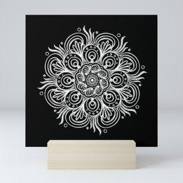 Chalk Art Mandala on Black Board, Mandala Motif in Black and White Mini Art Print