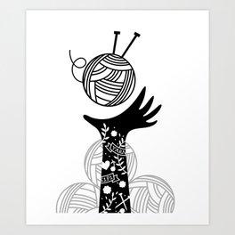 Yarn Love - Black Art Print