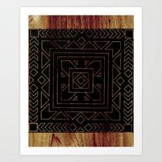 Geometric I - Black on Wood Art Print