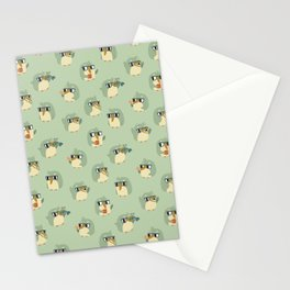 Adorable Green Penguin Pattern Stationery Cards