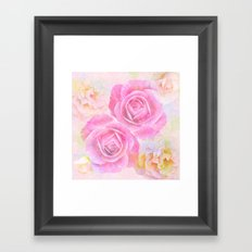 Painterly roses in pastels Framed Art Print