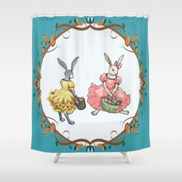 Dressed Easter bunnies 2a Shower Curtain