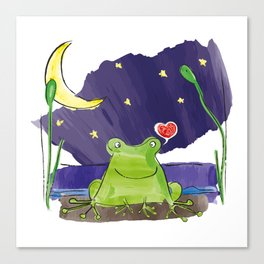 The frog and the moon Canvas Print