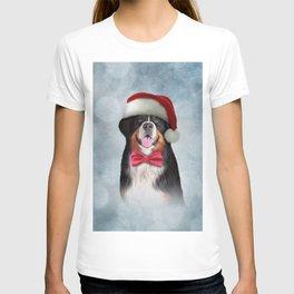 Bernese Mountain Dog in red hat of Santa Claus 2 T-shirt