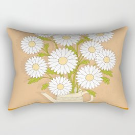bouquet of white camomiles in the vase Rectangular Pillow