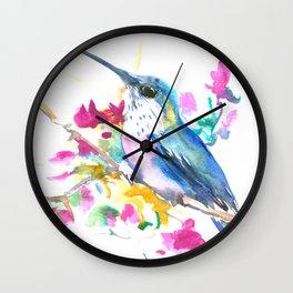Turquoise Hummingbird and Purple Pink Flowers Wall Clock