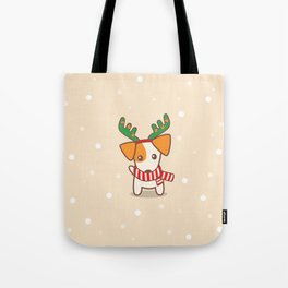 Jack Russell Terrier with Reindeer Antlers on snowy background Illustration Tote Bag