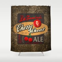 ale giorgini Shower Curtains featuring Cherry Wheat Ale by La Femina Brewing Co.