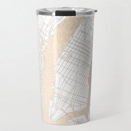 New York City White on Gold Travel Mug