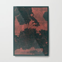 Auckland Map Red Metal Print