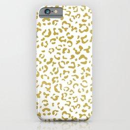 Gold Leopard, Gold Glitter, Leopard Print iPhone Case