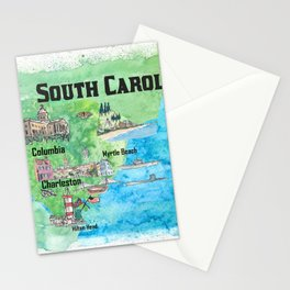 USA South Carolina State Travel Poster Map with Tourist Highlights Stationery Cards