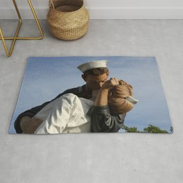 Kissing Sailor And Nurse Portrait Rug