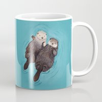 words Mugs featuring Otterly Romantic - Otters Holding Hands by When Guinea Pigs Fly