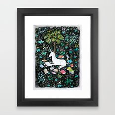 The Unicorn is Reading Framed Art Print