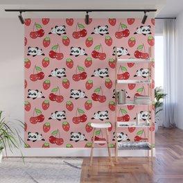Cute funny Kawaii chibi little playful baby panda bears, happy sweet ripe summer red cherries and strawberries light pastel peach color pattern design. Nursery decor. Wall Mural