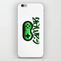 gamer iPhone & iPod Skins featuring Gamer Green by UMe Images