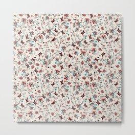 Folky Floral Print Metal Print