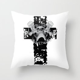 Skull Crucifix Throw Pillow