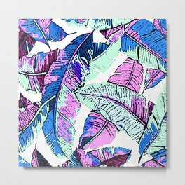 BANANA LEAF PALM PASTEL PINK AND BLUE Metal Print