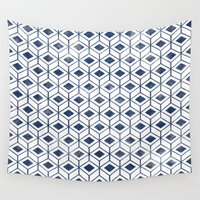 indigo Wall Tapestries featuring INDIGO by KIND OF STYLE