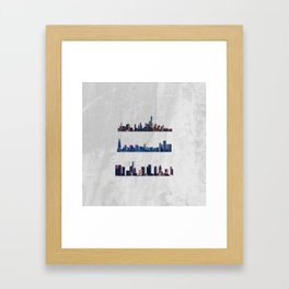 Chicago, New York City, And Los Angeles City Skylines Framed Art Print