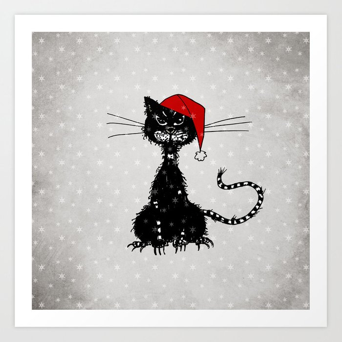 Evil Christmas.Evil Christmas Cat Art Print By Borianagiormova