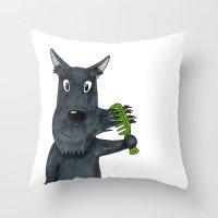 mustache Throw Pillows featuring Mustache by Lisidza's art