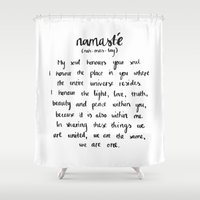 namaste Shower Curtains featuring Namaste by Amarinda