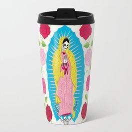 Skull Virgin of Guadalupe_ Hand embroidered Travel Mug