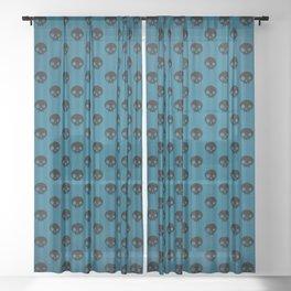 Blue & Black Skulls Sheer Curtain