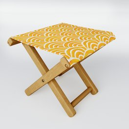Japanese Seigaiha Wave – Marigold Palette Folding Stool